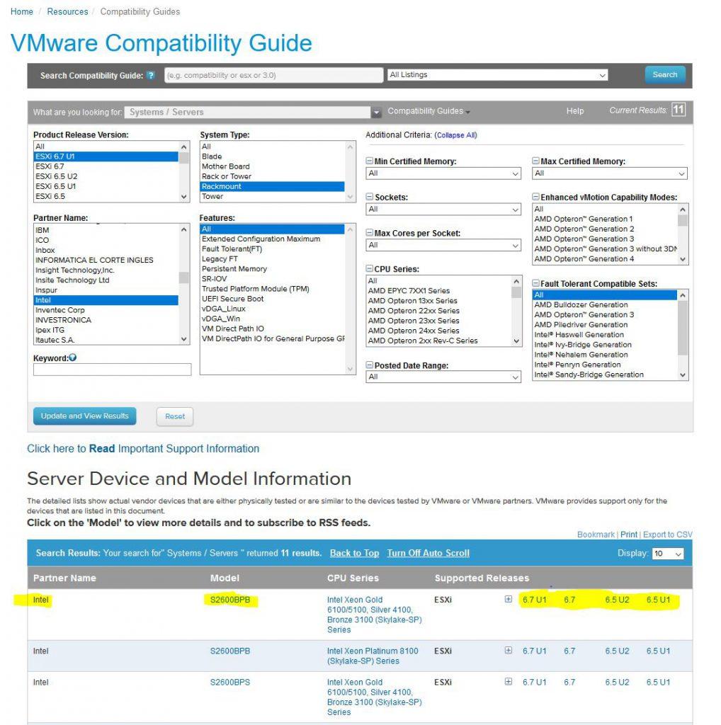 vmware compatibility matrix - driver